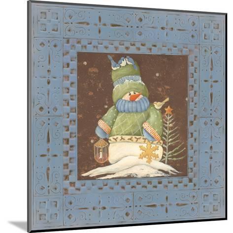 Blue Tin Snowman-Jo Moulton-Mounted Art Print