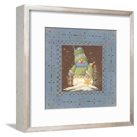 Blue Tin Snowman-Jo Moulton-Framed Art Print