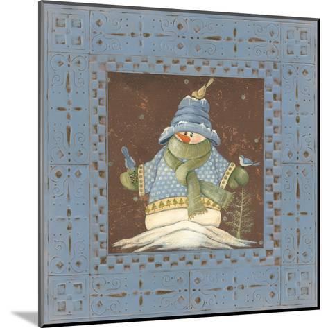 Blue Tin Snowman II-Jo Moulton-Mounted Art Print