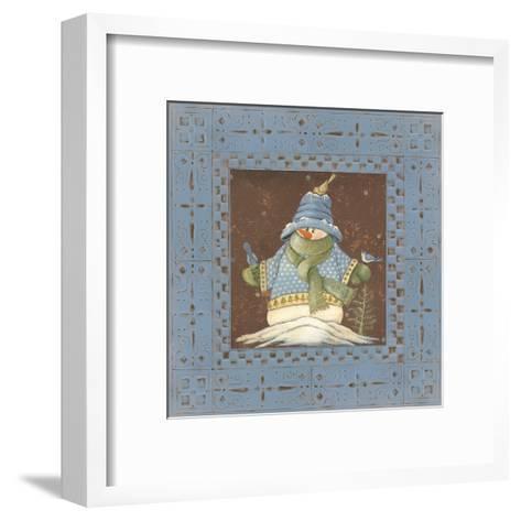 Blue Tin Snowman II-Jo Moulton-Framed Art Print