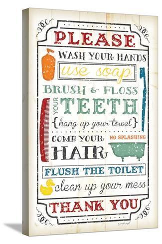 Bathroom Rules-Jennifer Pugh-Stretched Canvas Print