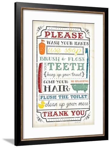 Bathroom Rules-Jennifer Pugh-Framed Art Print