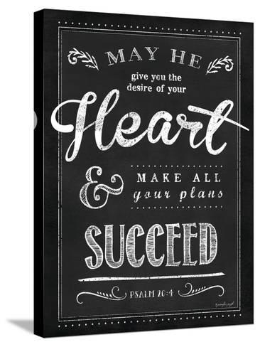 Chalkboard Psalm 20:4-Jennifer Pugh-Stretched Canvas Print
