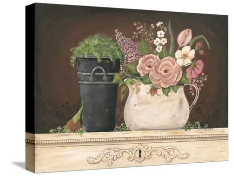 Floral with Black Bucket-Jo Moulton-Stretched Canvas Print