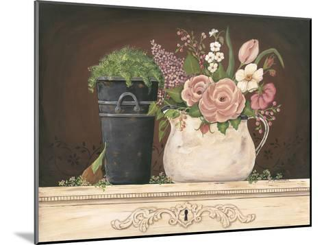 Floral with Black Bucket-Jo Moulton-Mounted Art Print