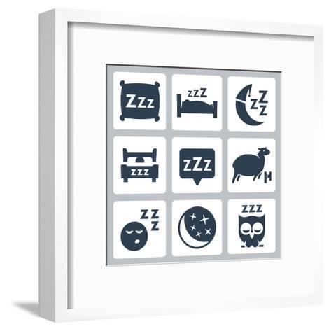 Vector Isolated Sleep Concept Icons Set: Pillow, Bed, Moon, Sheep, Owl, Zzz-GreyJ-Framed Art Print