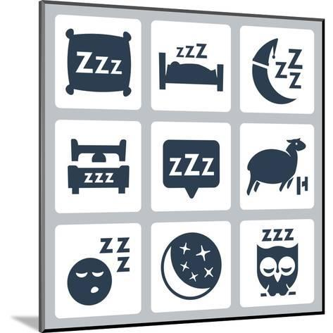 Vector Isolated Sleep Concept Icons Set: Pillow, Bed, Moon, Sheep, Owl, Zzz-GreyJ-Mounted Art Print