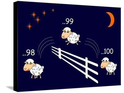 Funny Cartoon Sheep Jumping through the Fence-Amicabel-Stretched Canvas Print