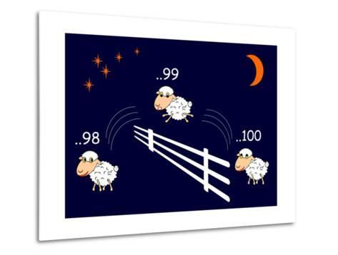 Funny Cartoon Sheep Jumping through the Fence-Amicabel-Metal Print