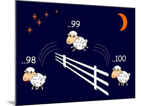 Funny Cartoon Sheep Jumping through the Fence-Amicabel-Mounted Art Print