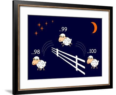 Funny Cartoon Sheep Jumping through the Fence-Amicabel-Framed Art Print