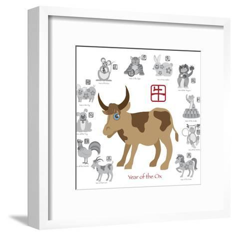 Chinese New Year Ox Color with Twelve Zodiacs Illustration-jpldesigns-Framed Art Print