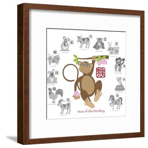 Chinese New Year Monkey Color with Twelve Zodiacs Illustration-jpldesigns-Framed Art Print