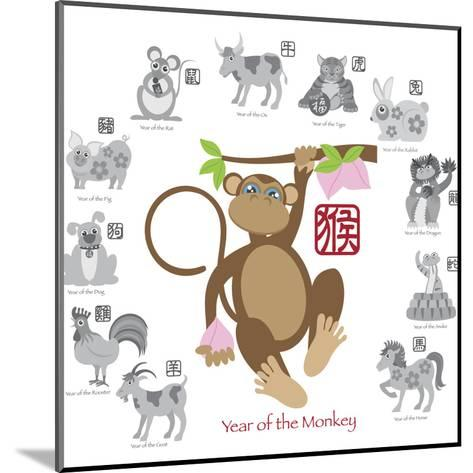 Chinese New Year Monkey Color with Twelve Zodiacs Illustration-jpldesigns-Mounted Art Print