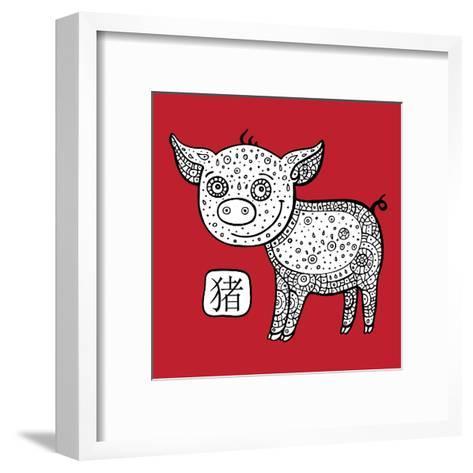 Chinese Zodiac. Animal Astrological Sign. Pig.-Katyau-Framed Art Print
