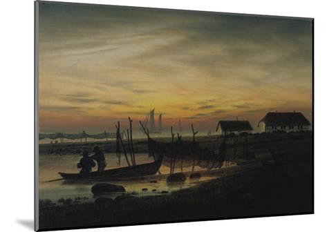 Coastal Landscape, Sunset, Um 1816-1818-Caspar David Friedrich-Mounted Giclee Print