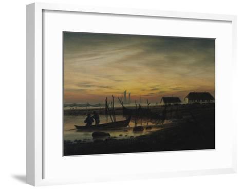 Coastal Landscape, Sunset, Um 1816-1818-Caspar David Friedrich-Framed Art Print