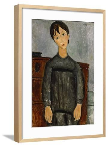 Girl with a Black Apron-Amadeo Modigliani-Framed Art Print