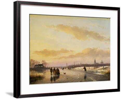 Enjoying the Ice, 1855-Andreas Schelfhout-Framed Art Print