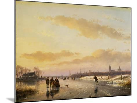 Enjoying the Ice, 1855-Andreas Schelfhout-Mounted Giclee Print