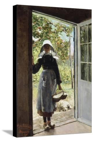 Young Woman from Boyardville (Ile D'Oléron) on the Doorstep-Anna Bilinska-Stretched Canvas Print