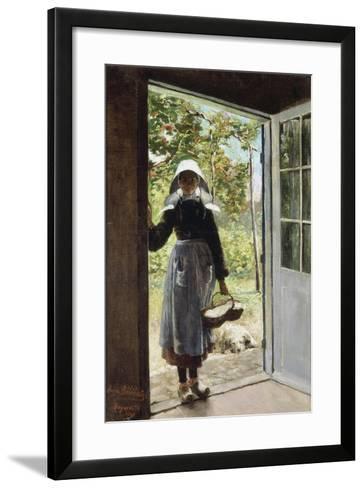 Young Woman from Boyardville (Ile D'Oléron) on the Doorstep-Anna Bilinska-Framed Art Print