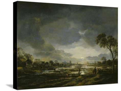 Moonlit Landscape-Aert van der Neer-Stretched Canvas Print