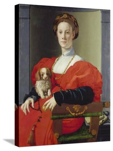 Bildnis Einer Dame Mit Schosshuendchen, 1537-1540-Agnolo Bronzino-Stretched Canvas Print