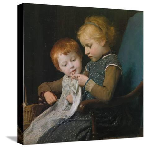 The Young Knitters-Albert Anker-Stretched Canvas Print