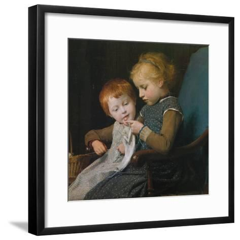 The Young Knitters-Albert Anker-Framed Art Print