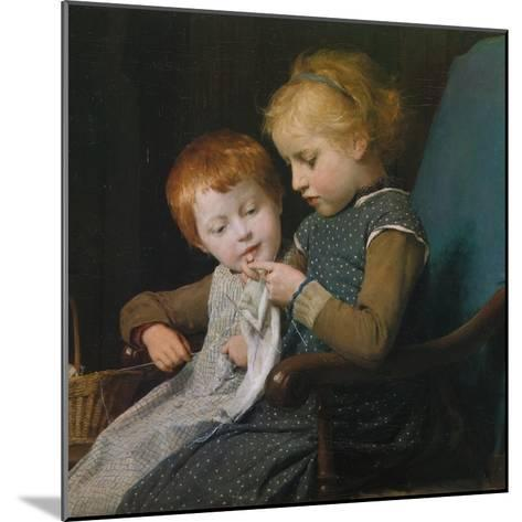 The Young Knitters-Albert Anker-Mounted Giclee Print