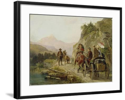 Encounter of Travellers and Fairground Entertainer with a Bear-Camille Pissarro-Framed Art Print