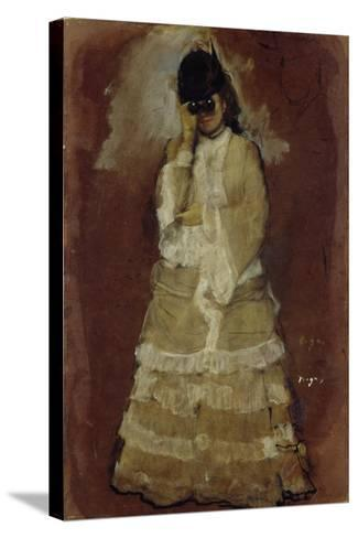 Lady with Opera Glasses, 1879-80-Edgar Degas-Stretched Canvas Print