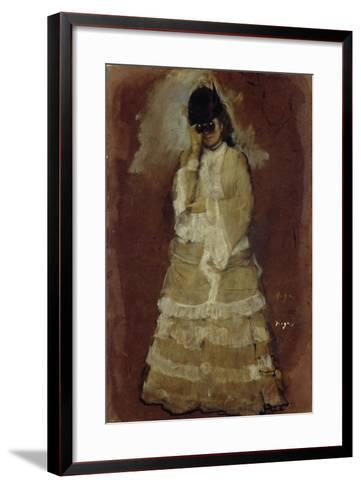 Lady with Opera Glasses, 1879-80-Edgar Degas-Framed Art Print