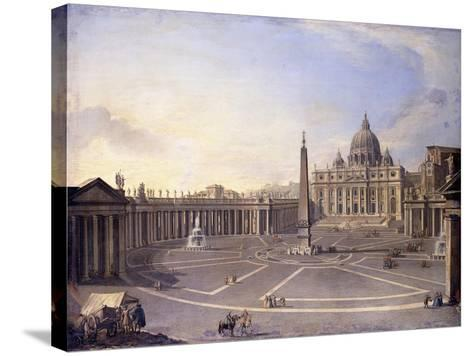 A View of St. Peter's, Rome with Bernini's Colonnade and a Procession in Carriages-Antonio Joli-Stretched Canvas Print