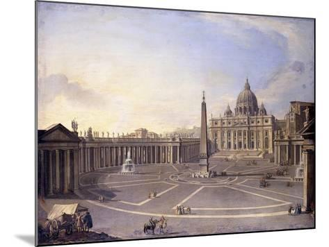 A View of St. Peter's, Rome with Bernini's Colonnade and a Procession in Carriages-Antonio Joli-Mounted Giclee Print