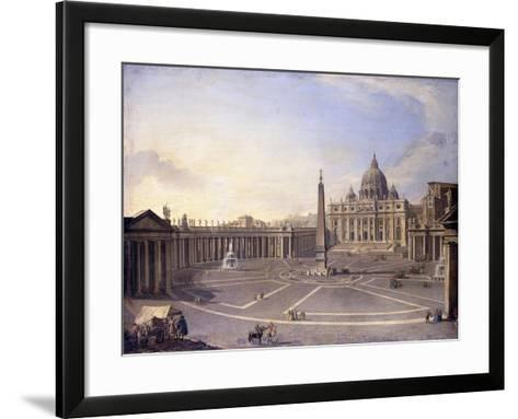 A View of St. Peter's, Rome with Bernini's Colonnade and a Procession in Carriages-Antonio Joli-Framed Art Print