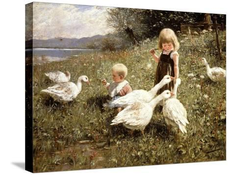 Feeding Geese, 1890-Alexander Koester-Stretched Canvas Print