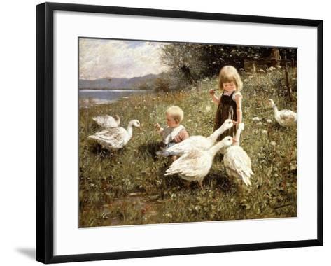 Feeding Geese, 1890-Alexander Koester-Framed Art Print