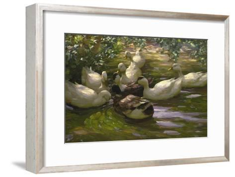 Ducks under Birch Twigs-Alexander Koester-Framed Art Print