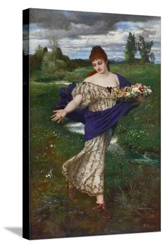 Flora, Scattering Flowers (Flora, Blumen Streuend), 1875-Arnold B?cklin-Stretched Canvas Print