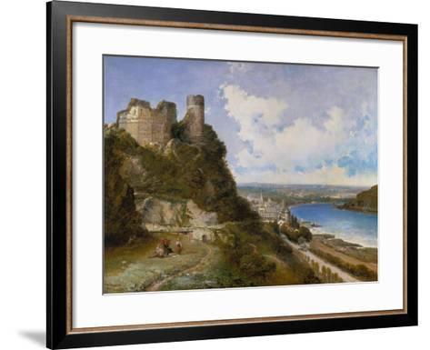 View of Oberwesel on the Rhine with Castle Ruin, 1897-Arthur Joseph Meadows-Framed Art Print