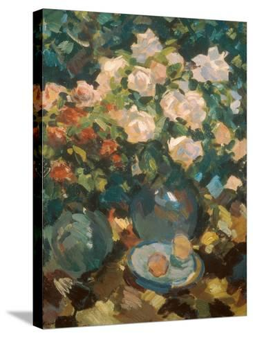 White Roses in a Blue Jar, 1917-Alexejew Konstantin Korovin-Stretched Canvas Print