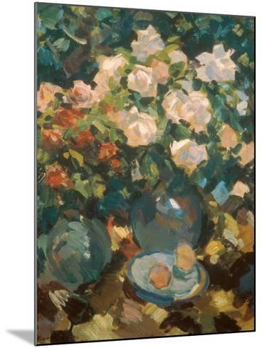 White Roses in a Blue Jar, 1917-Alexejew Konstantin Korovin-Mounted Giclee Print