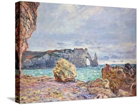 Etretat, Beach and Falaise D'Aval, 1884-Claude Monet-Stretched Canvas Print