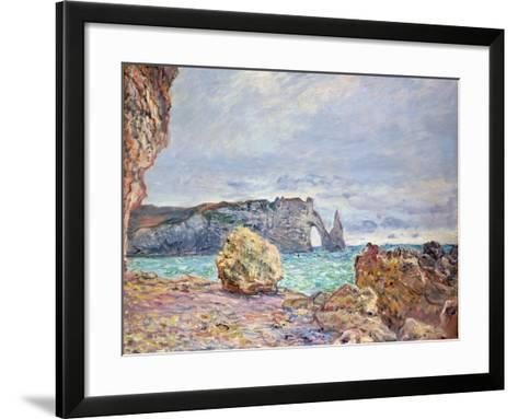 Etretat, Beach and Falaise D'Aval, 1884-Claude Monet-Framed Art Print