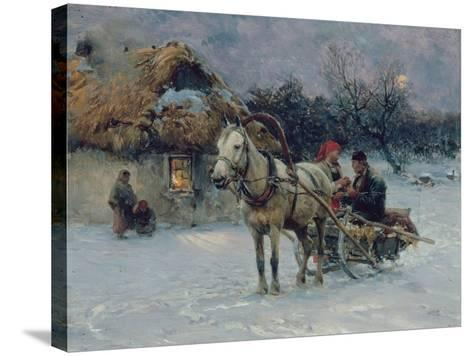 Polish Winter Landscape with Sleds-Alfred von Wierusz-Kowalski-Stretched Canvas Print