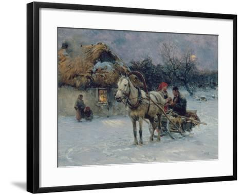 Polish Winter Landscape with Sleds-Alfred von Wierusz-Kowalski-Framed Art Print