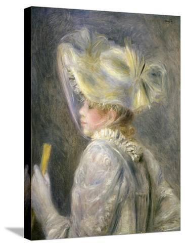 Young Woman with White Hat-Pierre-Auguste Renoir-Stretched Canvas Print