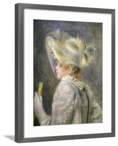Young Woman with White Hat-Pierre-Auguste Renoir-Framed Art Print